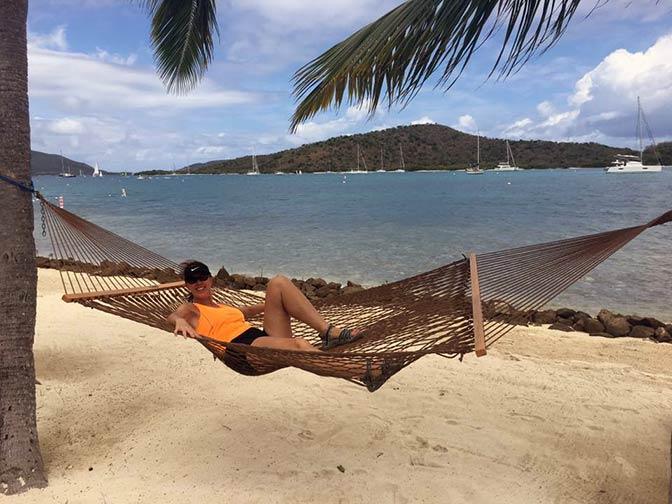 Margi on the beach in the British Virgin Islands