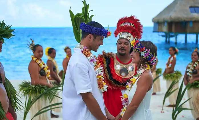 A wedding a Conrad Bora Bora Nui is the perfect choice for a destination wedding