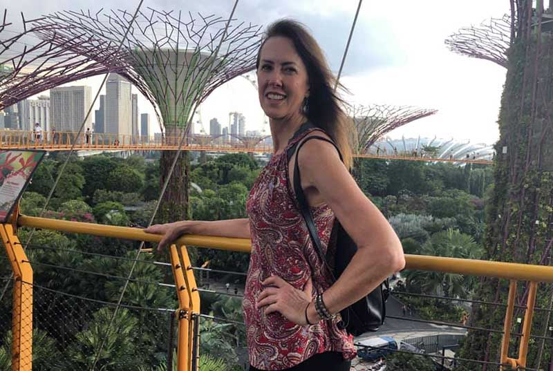 Margi visiting the Supertree Grove at Gardens by the Bay on her vacation in Singapore