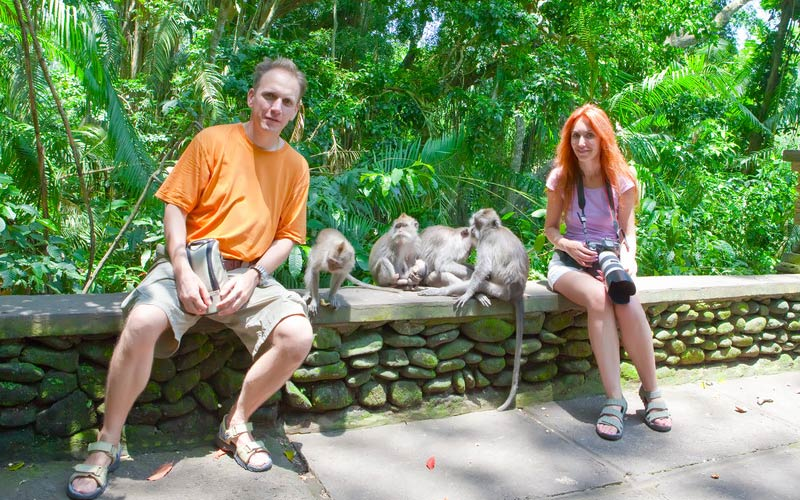 Making friends with Macaque monkeys in Ubud Monkey Forest